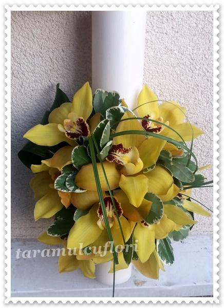 Lumanari de botez scurte cu orhidee.4054