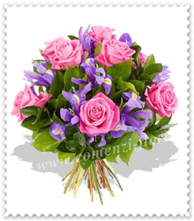 Buchete de flori din trandafiri si irisi.431