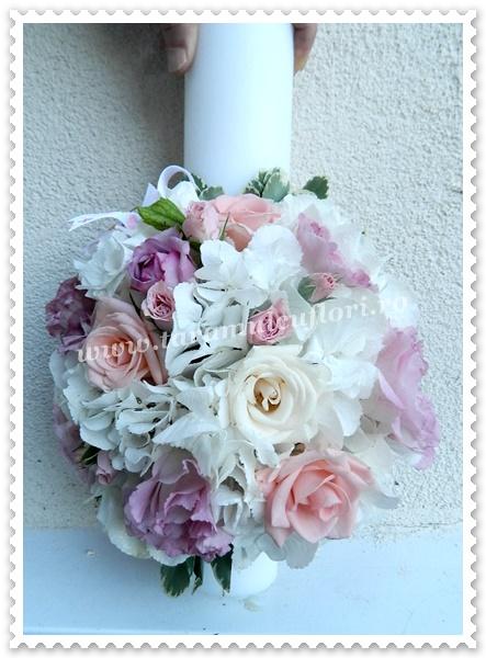 Lumanari de nunta scurte hortensie si trandafiri.0283