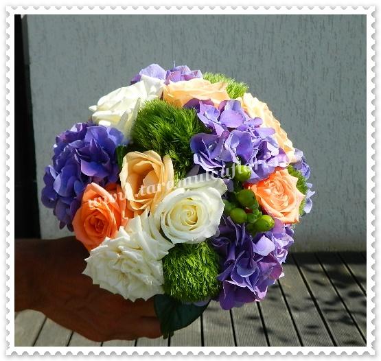 Buchete mireasa-green trick-hortensie-trandafiri.0380