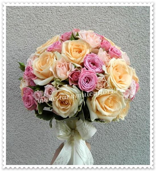 Buchete mireasa trandafiri somon-miniroze roz.0398