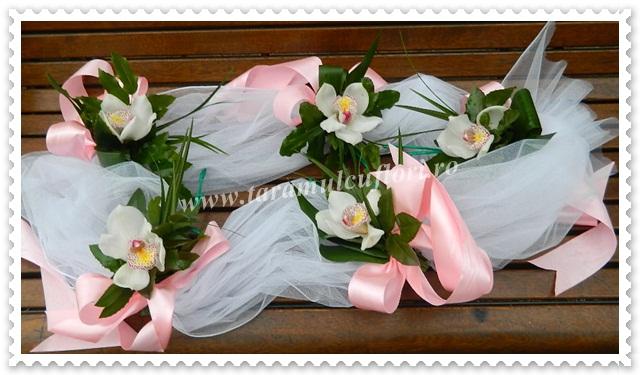Aranjamente florale cristelnite  din orhidee si tul.4069