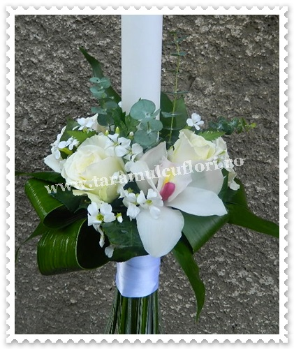 Lumanaride botez din trandafiri si orhidee.6155