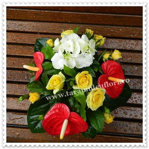 Aranjamente florale trandafri-anthurium.6883