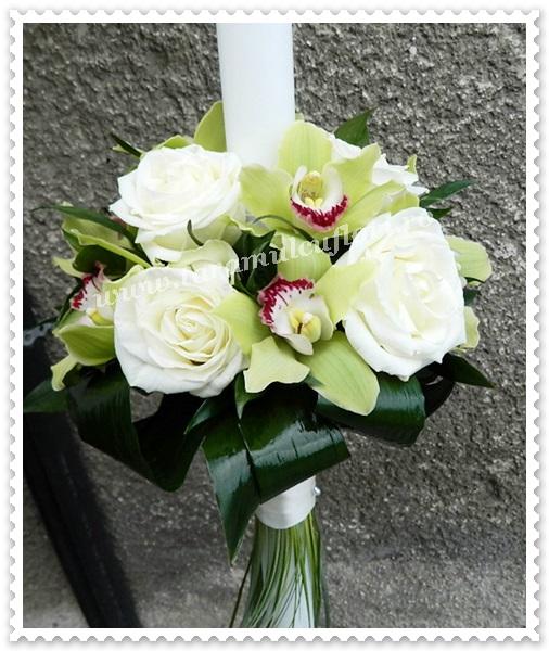 Lumanari cununie-trandafiri si orhidee.8527
