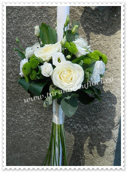 Lumanari de nunta trandafiri albi,santinii.8555