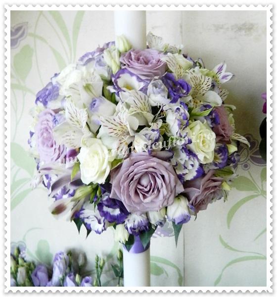 Lumanari de nunta-flori albe,lila,mov.8765