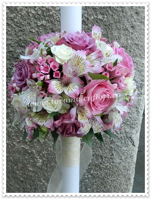 Lumanari nunta bouvardia roz.