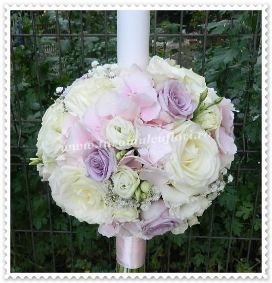 Lumanari de nunta trandafiri lila.9713