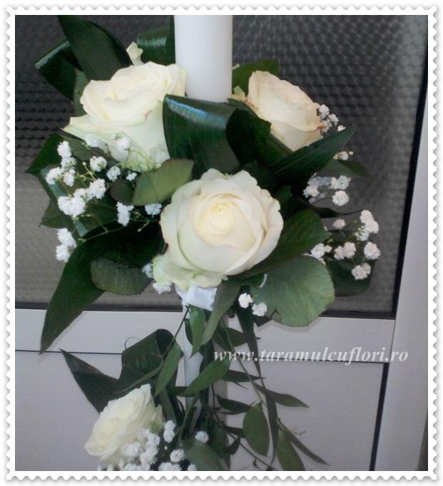 Lumanari nunta trandafiri albi.0454