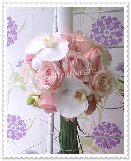Lumanari de nunta din trandafiri si orhidee.1089