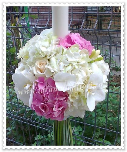 Lumanari de nunta din hortensie-trandafiri-orhidee.1633