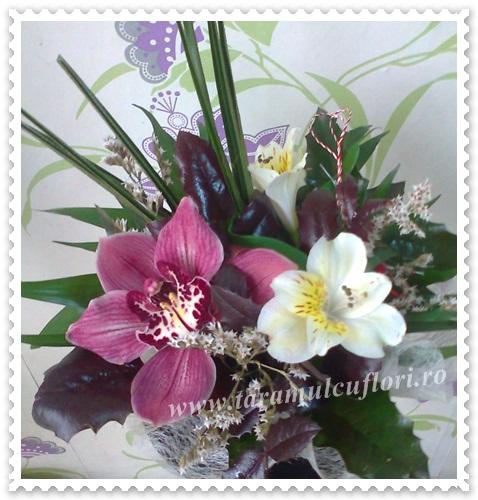 Aranjamente florale cu orhidee si alstroemerie.616