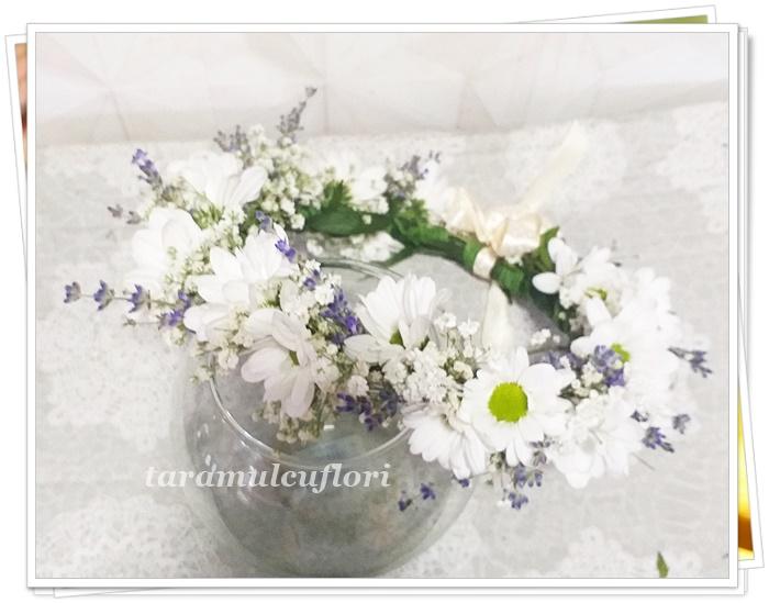 Coronite crizanteme gipsofila si lavanda.1405