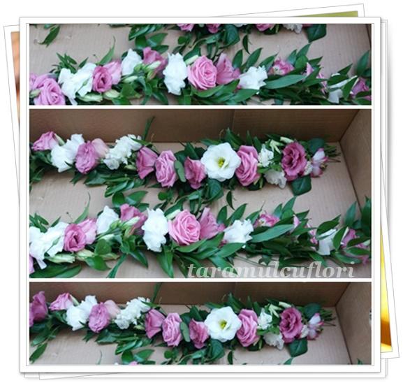 Aranjamente cristelnita din trandafiri si lisianthus.0012