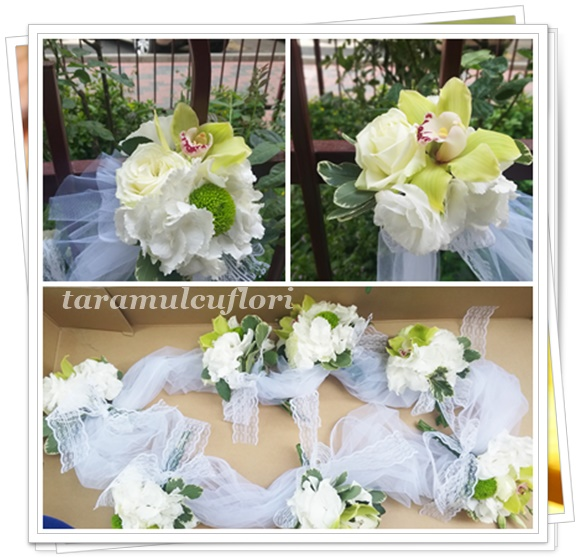 Aranjamente cristelnita din hortensie si orhidee,2643