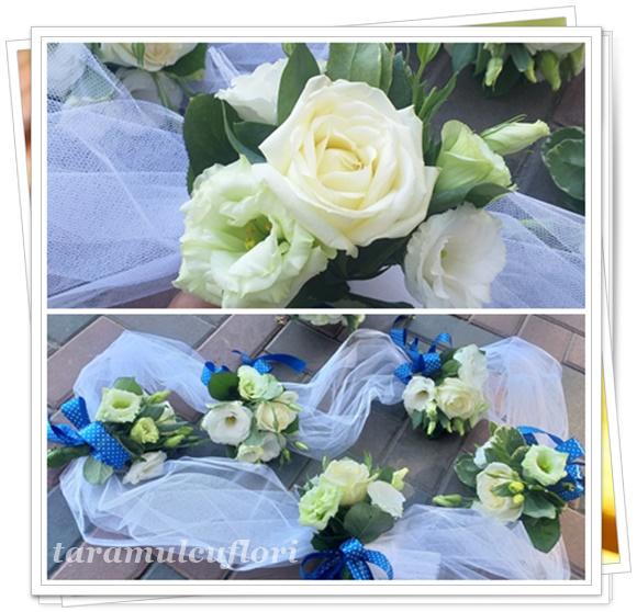 Aranjamente cristelnita din trandafiri si lisianthus.3025