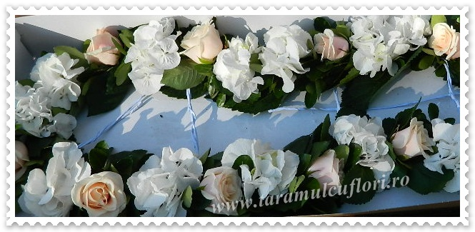 Aranjamente florale cristelnita din trandafiri si hortensie.4158